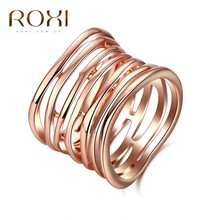 ROXI Trendy Female Lady Rings Leaf Jewelry Multi-circle Luxury White/Rose Gold Color Party Wedding Finger Ring for Women Anillos(China)