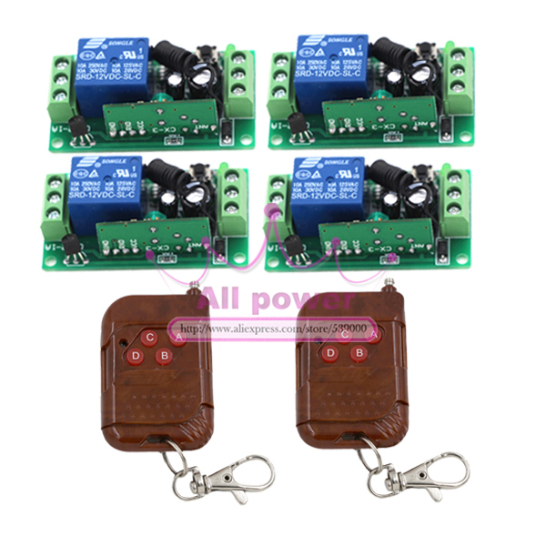 Free shipping 12V 4CH Remote Control Switch RF Wireless 2Transmitter+4Receiver Learn Code 3 Kinds Work Way 315/433MHz