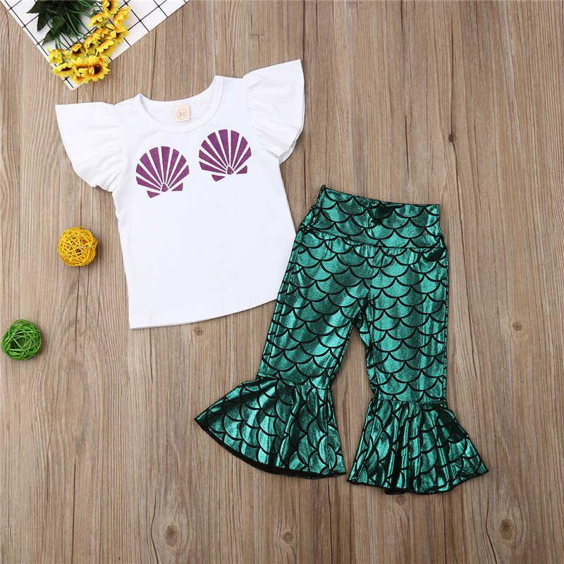 Yaz 2019 Bebek Kız Giyim Seti Moda Mermaid Giyim Tops T-gömlek + Pantolon 2 ADET Çocuk Çocuklar Set kız Setleri bebek kıyafetleri