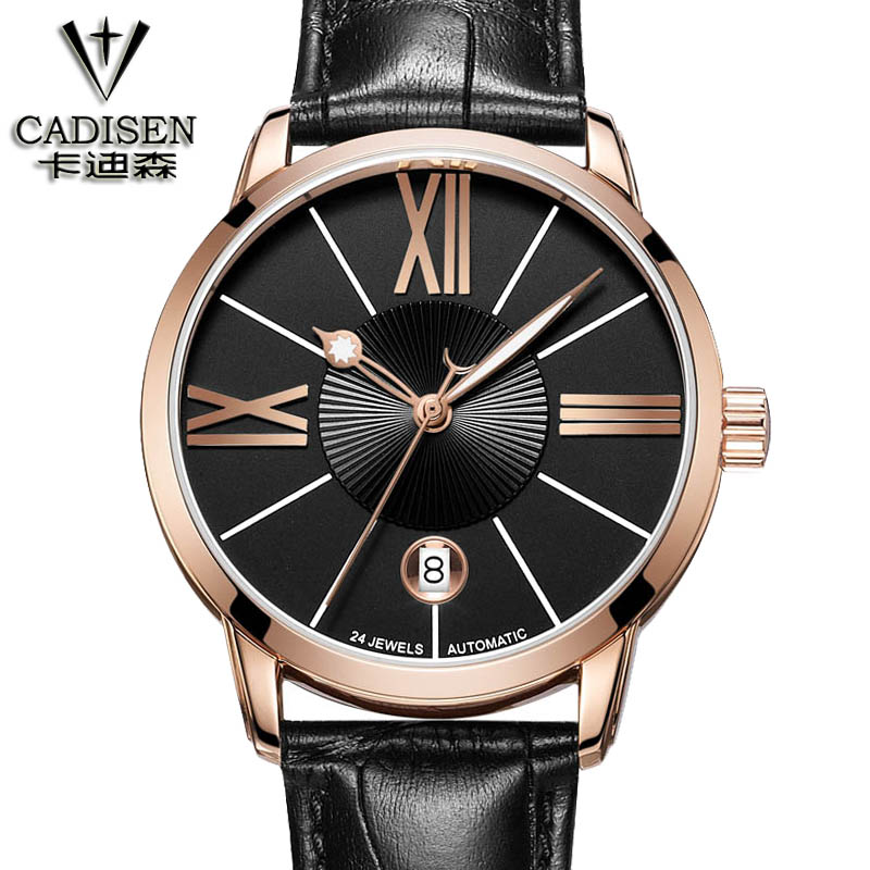 Mens Watches Top Brand cadisen 2018 Men Watch Automatic Mechanical Leather Wristwatch Business watches relogio masculino unique smooth case pocket watch mechanical automatic watches with pendant chain necklace men women gift relogio de bolso