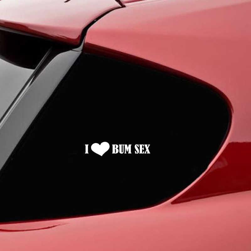 QYPF 15.5 ซม.* 3.5 ซม.ไวนิลตลก I Love Bum รถสติกเกอร์และรูปลอกสีดำเงิน C15-3028