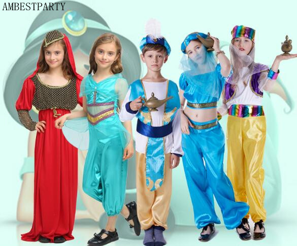 Us 19 46 15 Off 2018 Adult Kid Halloween Party Aladdin Costumes Aladdin Lamp Genie Costume Adam Prince Fantasia Party Arab Clothing Ambestparty On