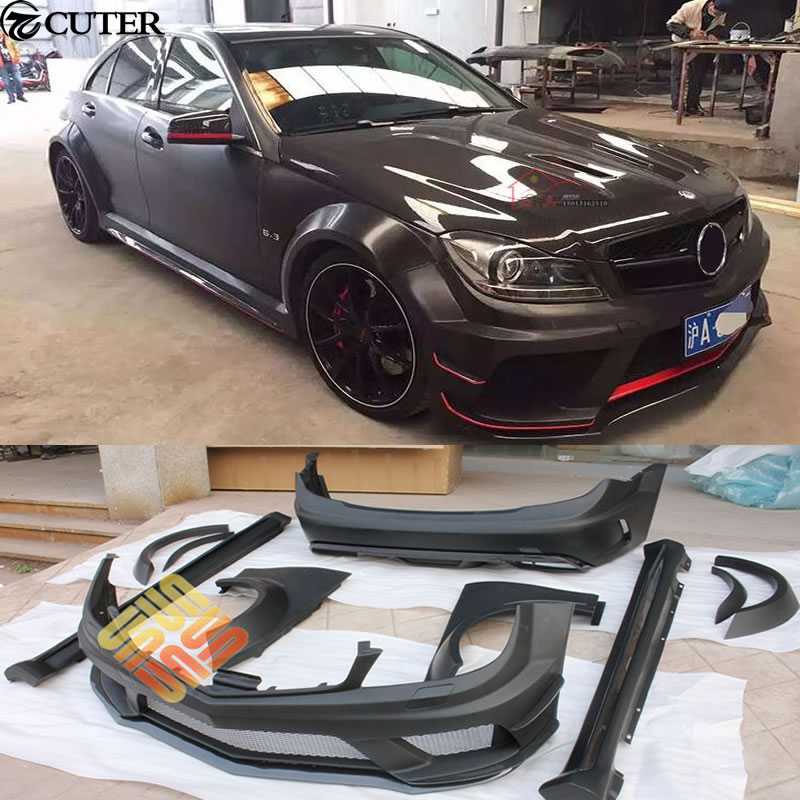 W204 c300 c63 wide car body kit frp unpainted front rear for Mercedes benz c300 body kit