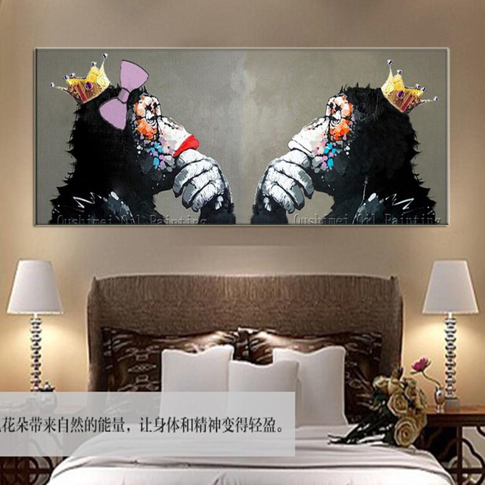 handgemaakte koning en koningin orang-oetans muurschildering voor - Huisdecoratie