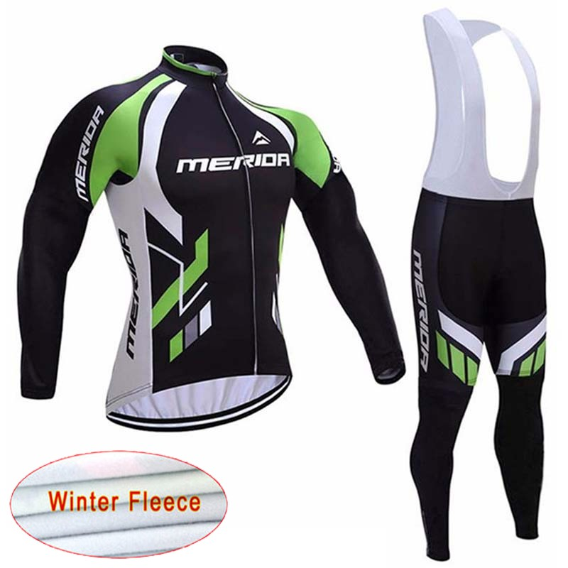 Merida Cycling Jersey Winter Thermal Fleece bike Clothing Riding wear Men Mountain Bicycle shirt bib pants suit Sportswear E0702