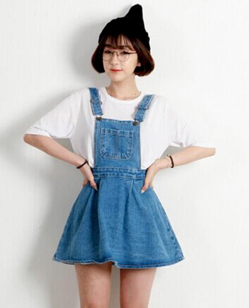 2c50b8d70e5 Summer Women Sleeveless Blue Denim Jumper Dress Pocket Adjustable Jeans Bib  Overall Dress Korean Slim Removable Mini Dresses-in Dresses from Women s ...