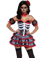 2016 Helloween Costumes For Women Senorita Skeleton Outfit Midnight Bride Skulls Cosplay Costumes Lolita Dress H39328