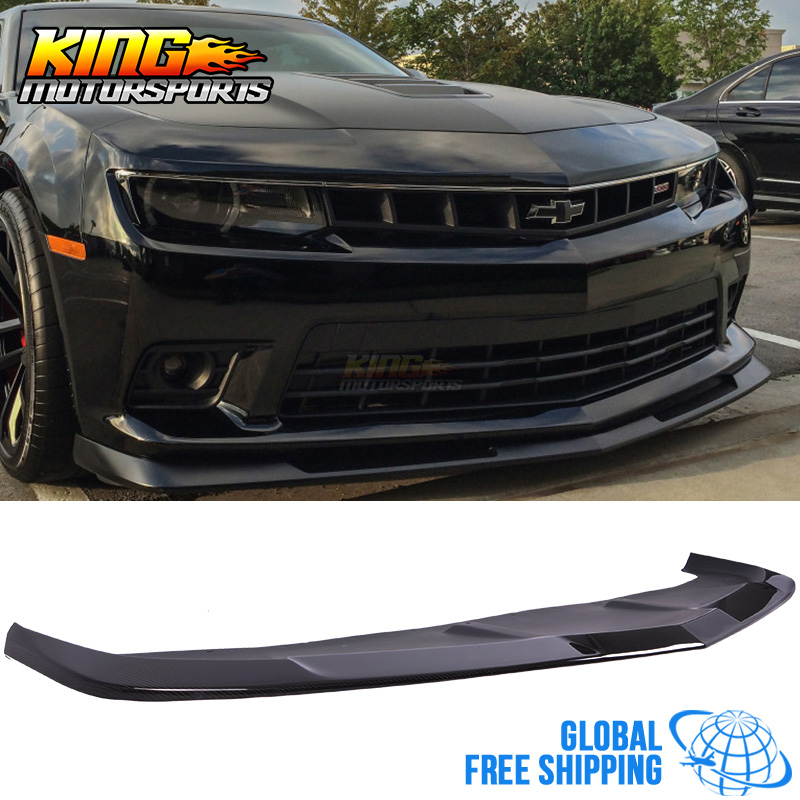 Fits 14-15 Chevy Camaro Z28 Style Front Bumper Lip Carbon Fiber CF Textured Look