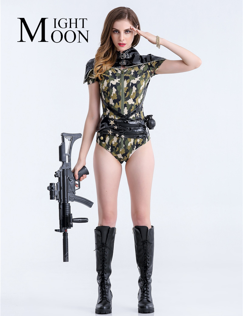 Moonight Sexy Army Costume Green Camouflage Bodysuit Short -6232