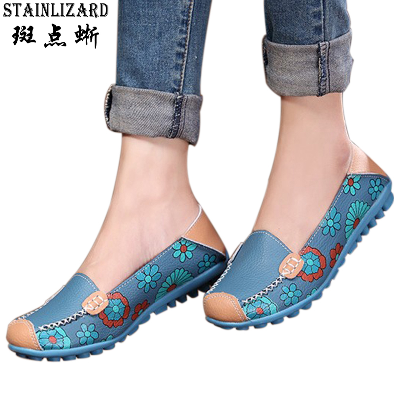 Women Flats 2017 PU Leather Casual Loafers Floral Walking Shoes Woman Moccasins Ladies Fashion Brand Women Casual Shoes DT913 vintage embroidery women flats chinese floral canvas embroidered shoes national old beijing cloth single dance soft flats