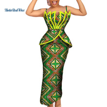 Fashion African Print Ruffles Top and Skirts Sets for Women Bazin Riche African Women Clothing 2 Pieces Pencil Skirts Sets WY206 fashion italian shoes and bags sets to match for african women free shipping 1701v0522d28