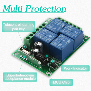 Image 5 - KTNNKG DC 12V 10A 4CH Wireless Remote Switch Relay Module Smart Home Automation Multi fonction Motor Controller 433MHz Receiver