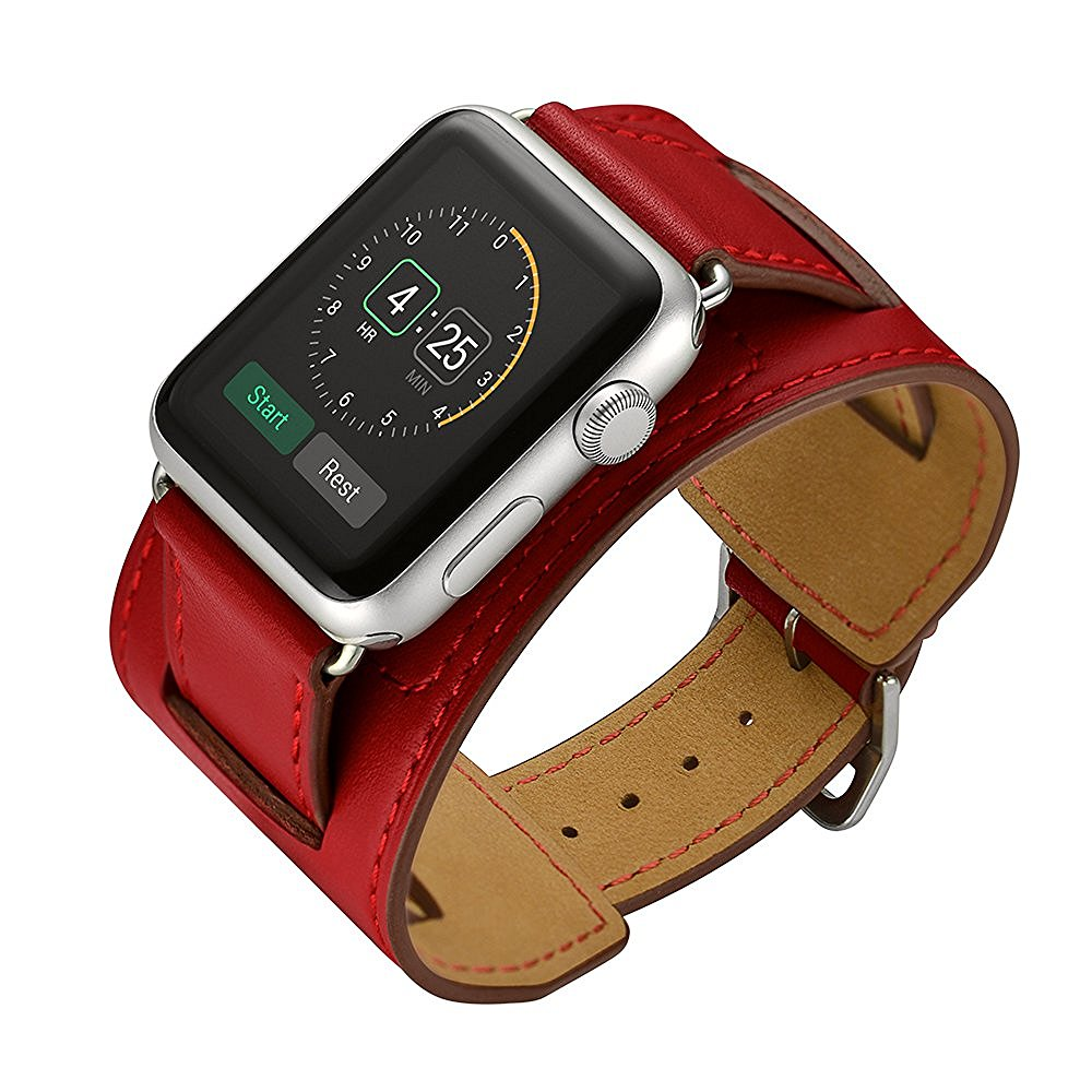 CRESTED Leather Cuff Strap For Apple Watch Band Apple Watch 5 4 3 42mm 38mm Iwatch Band 44mm/40mm Bracelet Belt Watchband