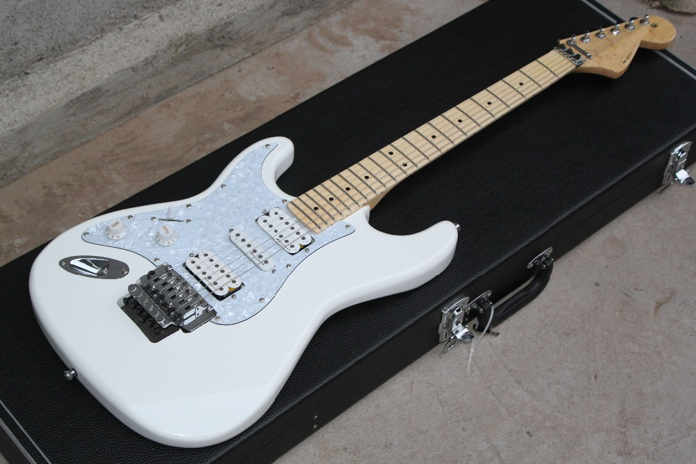 fingerboard maple HSH pickups big headstock normal neck Floyd rose tremolo Stratocaster Left handed Electric Guitar without casefingerboard maple HSH pickups big headstock normal neck Floyd rose tremolo Stratocaster Left handed Electric Guitar without case