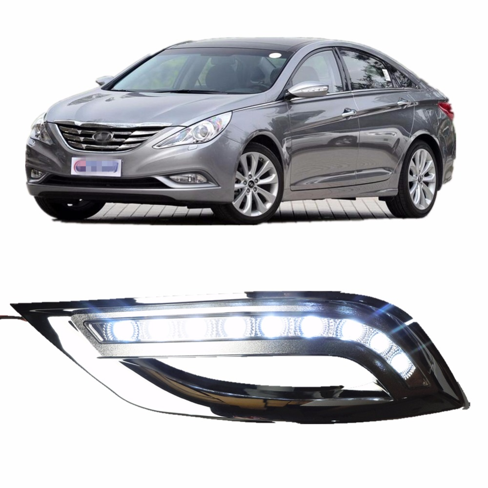 1set car styling led daytime running lights for hyundai sonata 8th 2011 2013 led drl