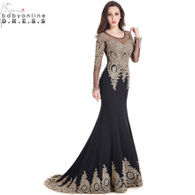 Robe de Soiree Longue Real Image Svart Mermaid Lace Langermet Kjole 2016 Chiffon Kjole Vestido Do Festa Longo
