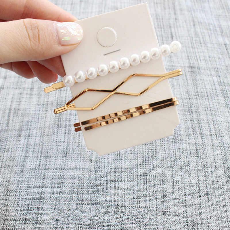 1SET Metal Minimalist Hair Accessories Geometric Irregular Gold Color Hair Clip Imitiation Pearl Hairpin Barrettes Hairgrip