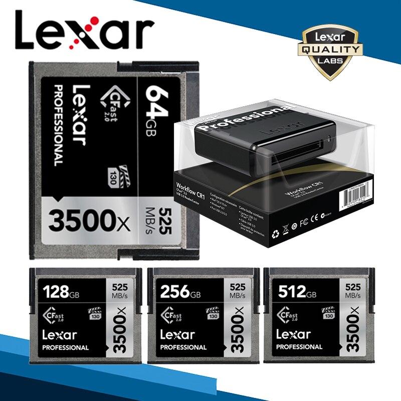 Lexar Cfast 2.0 Card 3500X 525M/s Memory Card 512GB 256GB 128GB 64GB C Fast Card High Speed Professional Camera Drone Storage