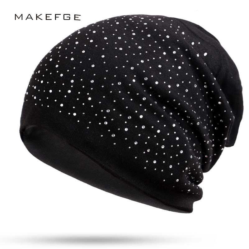 Rhinestone   Beanies   Women Cap Autumn winter Warm Knitted Cap Solid Color   Skullies   For Women Girl Hat Fashion Diamond   Beanie   Hats