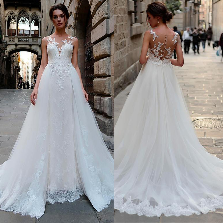 Stunning Tulle & Lace Bateau Neckline 2 In 1 Wedding Dress With Lace Appliques & Detachable Skirt Bridal Dresses