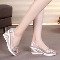 2019 New Fashion Sandals High Heels Peep Toe Women Summer Slip On Mesh Shoes Wedges Woman Size 40 Gold Color