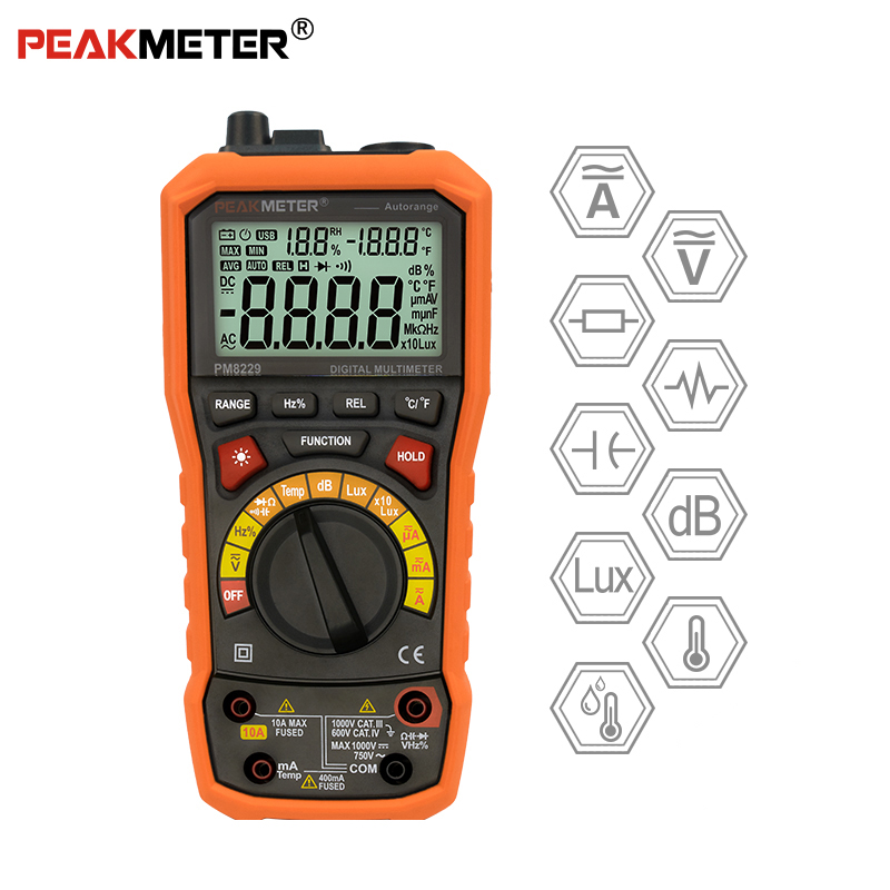 PEAKMETER PM8229 Auto manual Range Digital Multimeter with TRMS 1000V Temperature capacitance frequency TestPEAKMETER PM8229 Auto manual Range Digital Multimeter with TRMS 1000V Temperature capacitance frequency Test