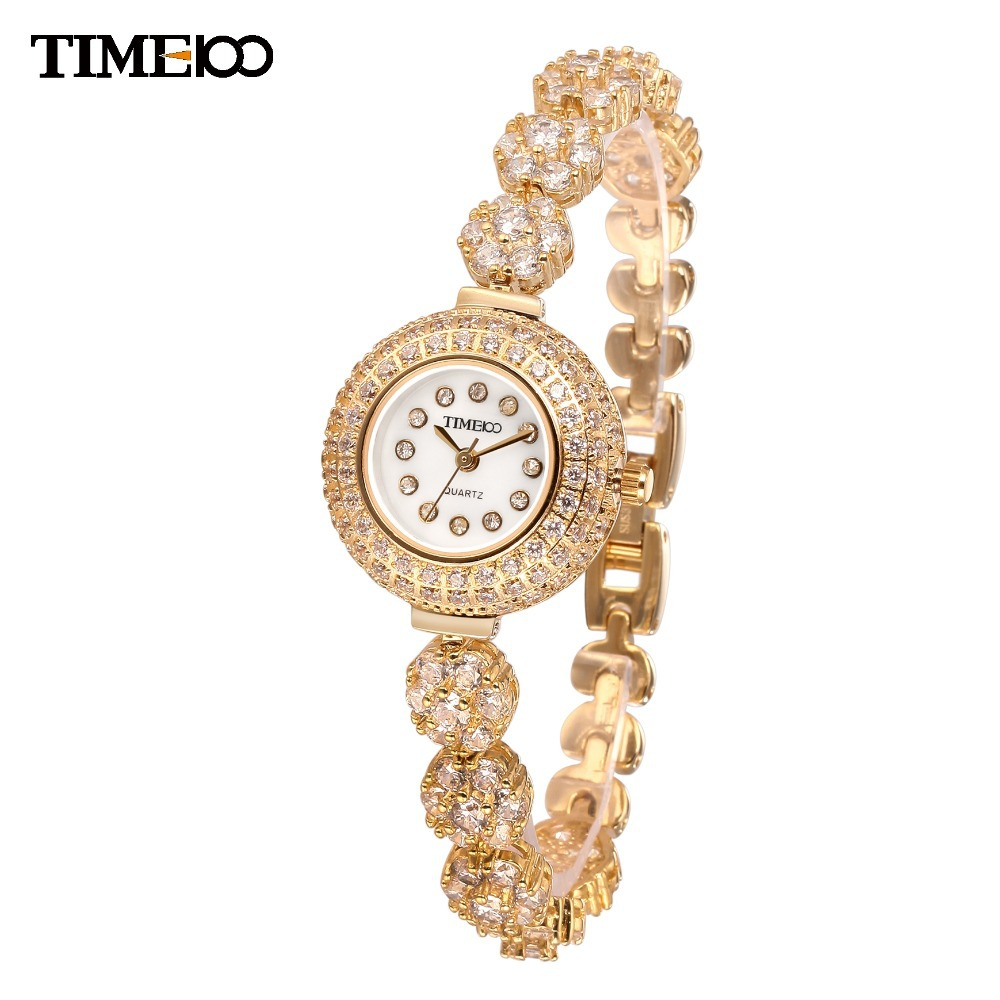 New TIME100 Ladies Luxury Short Gold Alloy Strap  Waterproof Bracelet Watches Women Diamond Quartz Dress Watch#50343.02 new time a11
