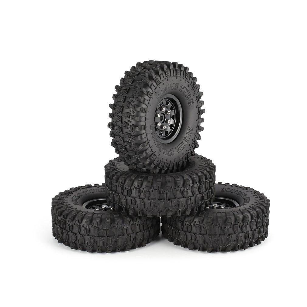 4Pcs 1.9 Inch 120mm Rubber Tires Tire with Metal Wheel Rim Set for 1/10 Traxxas TRX-4 SCX10 RC4 D90 RC Crawler Car Parts 4pcs 1 9 rubber tires