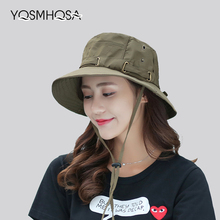 купить Cap Men Solid Summer Sun Hats for Women UV Protection Bucket Hats Hiking Fishing Wide Brim Mens Caps Femme Hat Unisex WH620 онлайн
