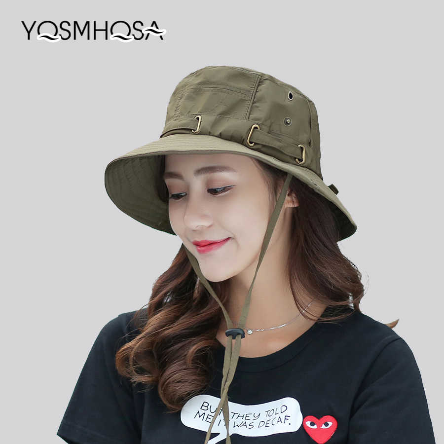 ed667946cee Cap Men Solid Summer Sun Hats for Women UV Protection Bucket Hats Hiking  Fishing Wide Brim