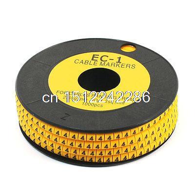 1000Pcs EC-1 Yellow Flexible PVC Letter 4 Print Wire Cable Markers 2.6-4.2mm2 letter print pillow case