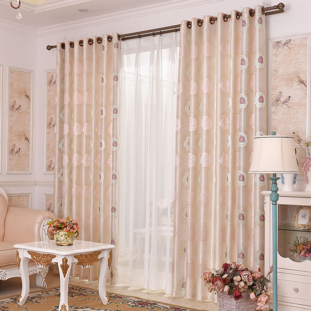 Jacquard Fl Blackout Curtains For The Bedroom Pink Curtain Living Room Window Blinds Custom Customize Tape