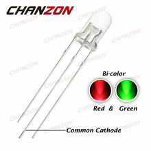 100pcs LED 5mm Diode Dual Color Red Green Common Cathode 5 mm High Brightness Transparent Round Bi-Color Light-Emitting Diode(China)