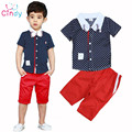 2017 summer New Arrival Boys Sunshine Clothing Sets kids boys Collar Dot Short-sleeve T-shirt+pant two pieces clothing sets