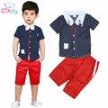 2017 verão Nova Chegada Meninos Conjuntos de Roupas infantis meninos da Luz Do Sol Colar Dot-manga Curta T-shirt + pant duas peças conjuntos de roupas