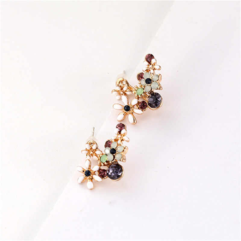 Fashion Perhiasan Korea Manis Bunga Kristal Anting-Anting Anting-Anting untuk Wanita Gadis Dua Sisi Anting-Anting Rhinestones Hadiah