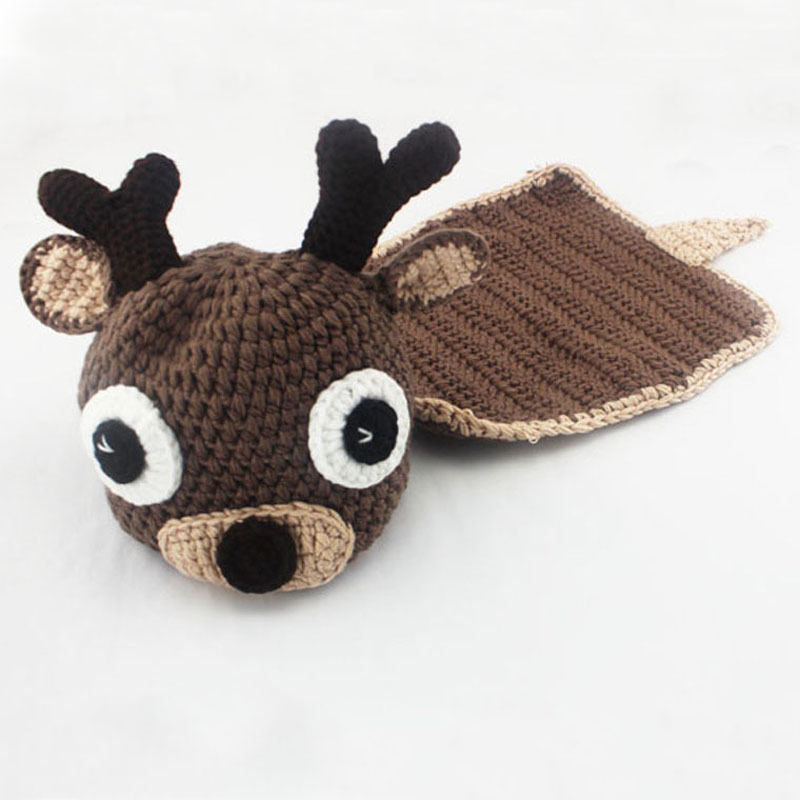 Deer Costume Beanie Hat with Cape Set Newborn Baby Photo Props Infant Knitted Animal Photography Props 1set H149