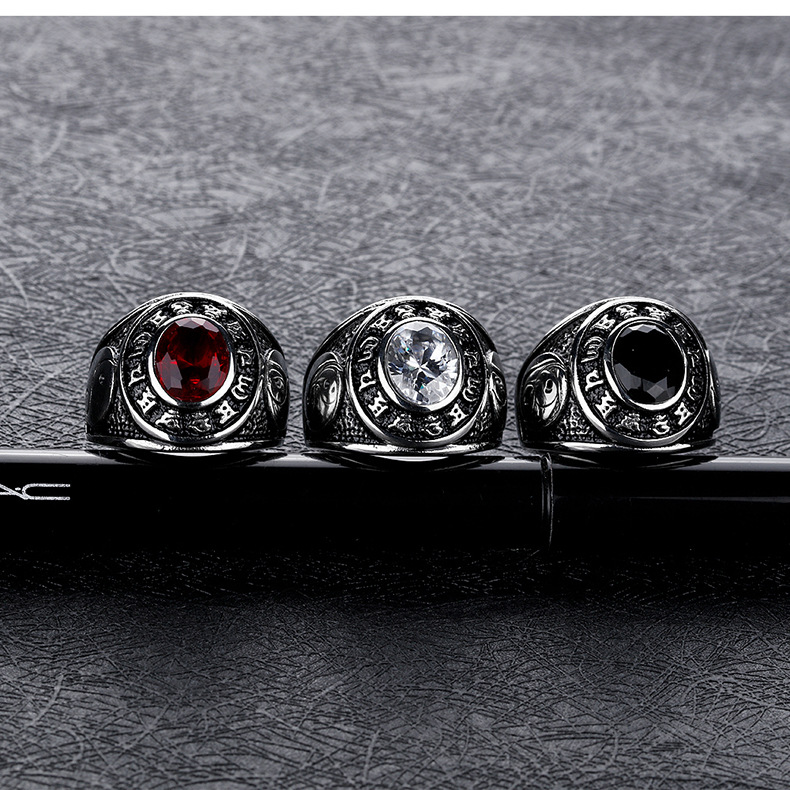 White Black Red Cubic Zircon Men Ring Stainless Steel Jewelry Fashion Vintage Silver Gossip Ring Men Gold Color Rings For Man