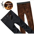 fleece high quality jeans men feather warm elestic denim overalls homme winter simple middle waist straight jeans