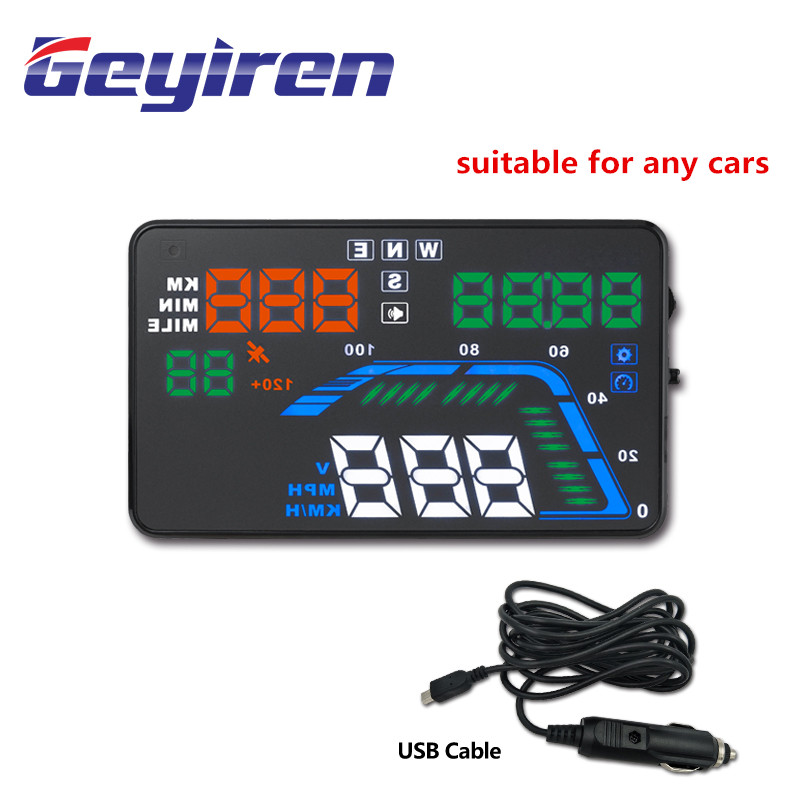 GEYIREN Hud Display Car Q7 Gps Speedometer Car For Mirror Hud Car Bike Motorcycle Auto Accessories Windshield Projector Alarm