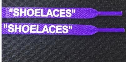 """Vieruodis печать """"шнурки"""" черный белый оранжевый зеленый OW подписанные шнурки для офф обуви овальные веревочные шнурки - Цвет: purple"""