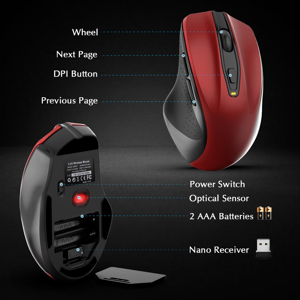 TedGem Wireless Mouse 2400DPI Adjustable USB 3 0 Receiver Optical Computer Mouse 2 4GHz Ergonomic Energy Saving Laptop PC Mice in Mice from Computer Office