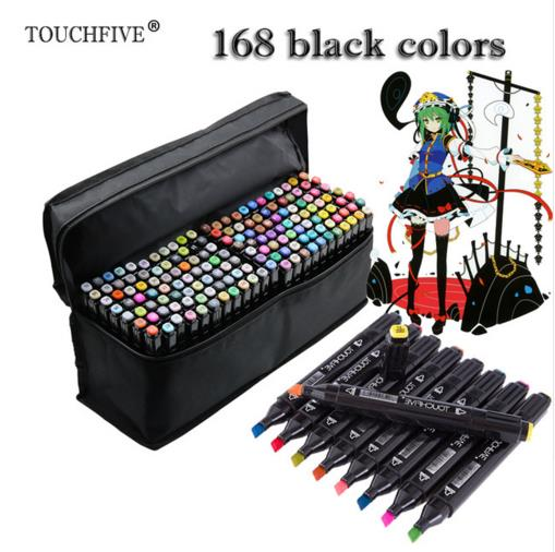 TOUCHFIVE 168 black Colors Art Markers Alcohol Based Markers Drawing Pen Set Manga Dual Headed Art Sketch Marker Design Pens touchfive marker 60 80 168 color alcoholic oily based ink marker set best for manga dual headed art sketch markers brush pen