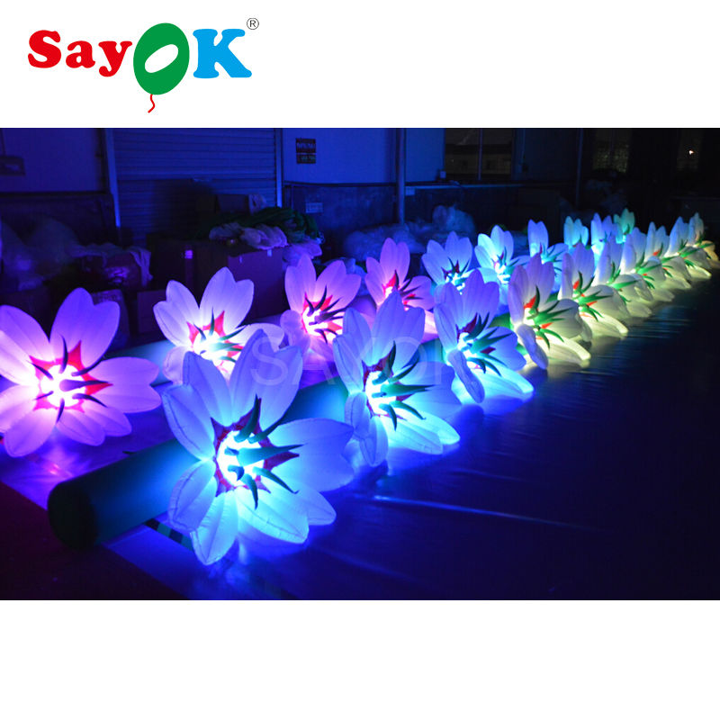 5m 6m 7m 8m 9m 10m Long Inflatable Flower Chain Lighting Decoration Diant inflatable Flower Decoration