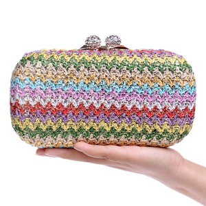 Image 4 - Sekusa Chains Hard Knitted Fashion Women Evening Bags Diamonds Small Day Clutch Party Wedding Shoulder Bags