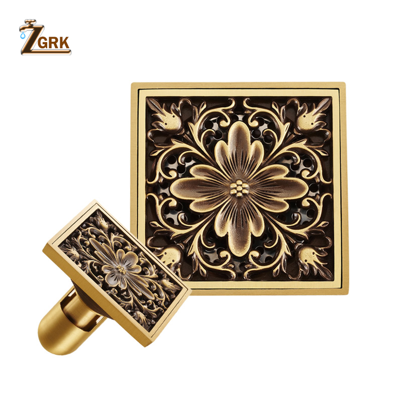 ZGRK Floor Drains Square 10cm Shower Drain Brass Floor Drain Trap Waste Grate With Hair Strainer Bathroom Shower Accessories