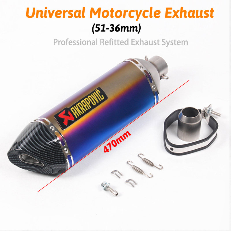 51MM Unversal Motorcycle Akrapovic Exhaust Pipe With Muffler Moto Bike Pot Escape For Yamaha Honda KTM Kawasaki Ducati 470mm cool universal 36 51mm motorcycle akrapovic exhaust pipe with muffler moto bike pot escape for yamaha honda ktm kawasaki slip on