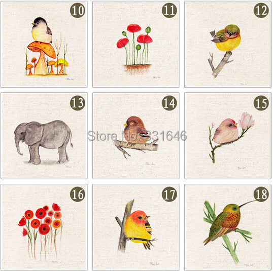 NEW! 20*20cm Birds Hand-Dyed Cotton Linen Fabric Diy Sewing Craft Patchwork Applique Accessores for Bag free ship