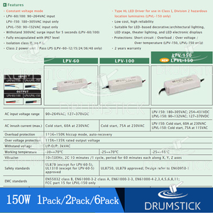 Image 4 - (6PACK)Meanwell 150W IP67 waterproof Power Supply LPV 150 24V LPVL 150 12V 15V 36V 48V 8A 10A DC Display LED light strip Monitor