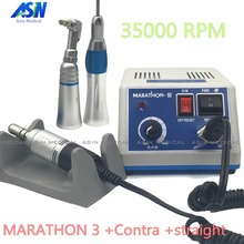 2017 NEW dental Lab micromotor polish handpiece with contra angle straight handpiece SEAYANG MARATHON 3 Electric